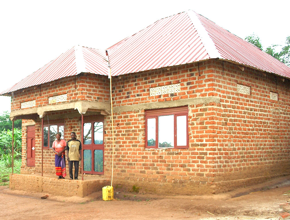 Bakabulindi's new house which he built after improvig livelihood following the training about modern farming.
